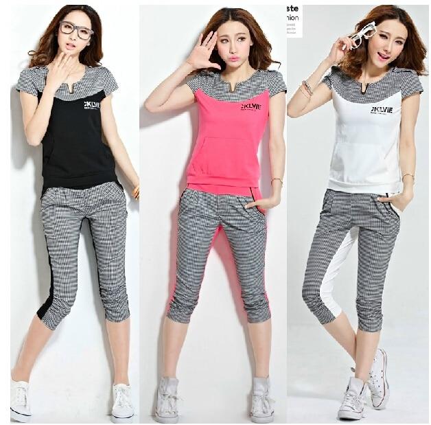 9d736c2084d Women Summer Sportswear Korean Casual Short Sleeve Sports Suit Tracksuit  Sweatshirt Tops+Pants Sporty Set free shipping H114