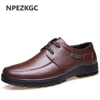 NPEZKGC New Fashion Men Classic Business Handmade Leather Shoes Men Casual Lace Up Flat Patent Breathable