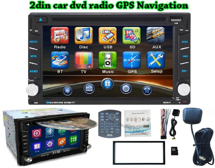 """autoradio 2din car radio CapacitiveTouch Screen car dvd player gps Bluetooth FM 6.2"""" in dash TFT support rear view camera input"""