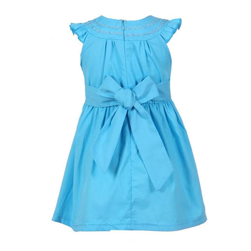 Girls Dresses 2018 New Summer Style Children O-neck Sleeveless Solid Color Dresses Design For Bow Belt 2-6Y Girls Dress