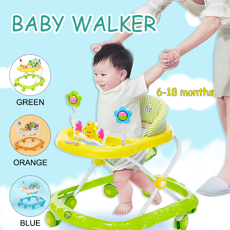 6-18 Months Baby Walker Baby Balance First Steps Walker Kids Toddler Early Educational Trolley Learning To Stand Walker