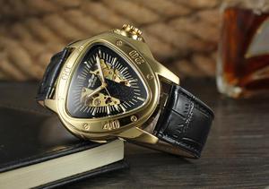 Image 2 - WINNER الموضة الإبداعية مثلث سطح كلاسيكي أسود الذهب ثلاثة مؤشر حزام الرجال ساعة معصم