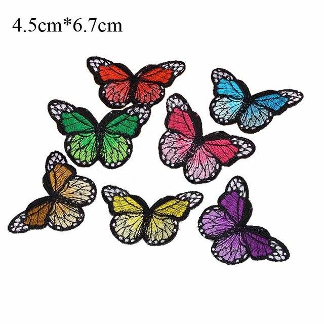 6.7 cm ancho color mariposas bordado parche adhesivo para ropa ...