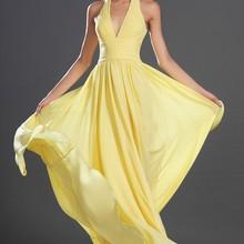 Простое Элегантное шифоновое вечернее платье с v-образным вырезом