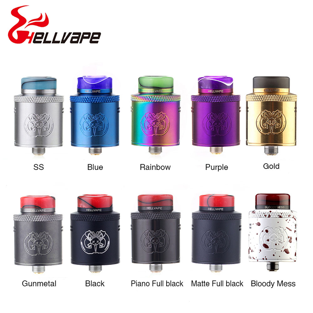 Electronic Cigarettes Hellvape Drop Dead 24mm RDA With Resin Driptip Single/Dual Coil Builds For Aegis Mod VS Dead Rabbit Rda