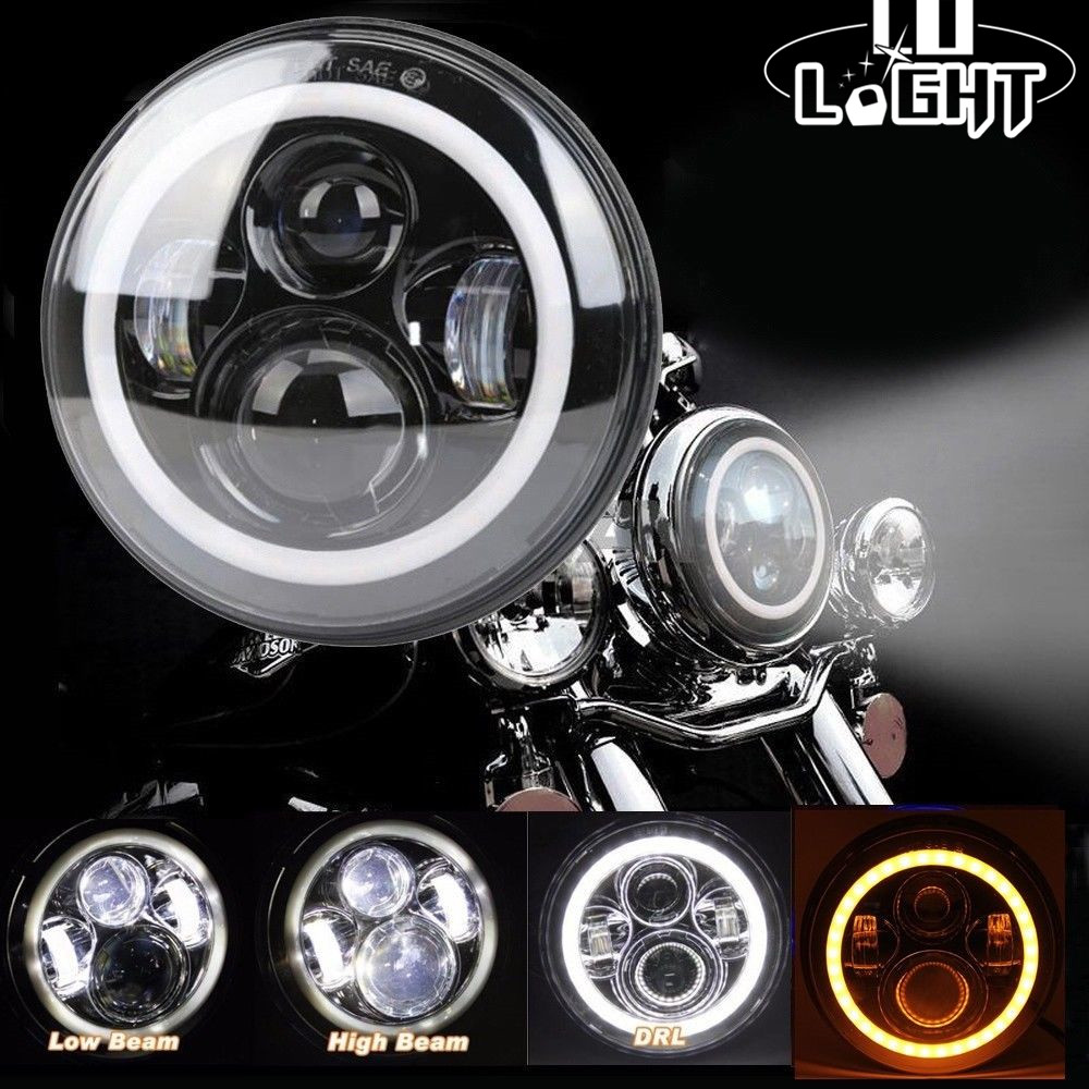 CO LIGHT 1PCS 7 Round Headlight 50W 30W Led 12V 24V Angel Eye Auto DRL For Jeep Wrangler Toyota Nissan Harley Motorcycle Lada co light 7 led headlight 12v 24v hi low 50w 30w auto headlight angle eye for jeep wrangler jk hummer defender toyota ford lada
