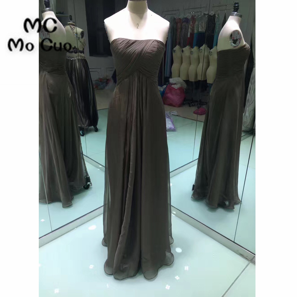 2018 New Dark Grey   Bridesmaid     Dress   Long Maid of Honor Wedding Party   Dresses   Chiffon Sweetheart Pleat Formal   Bridesmaids     Dresses