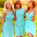 2016 elegant light blue bridesmaid dress o neck off shoulder chiffon short wedding guest gown for formal  party vestido