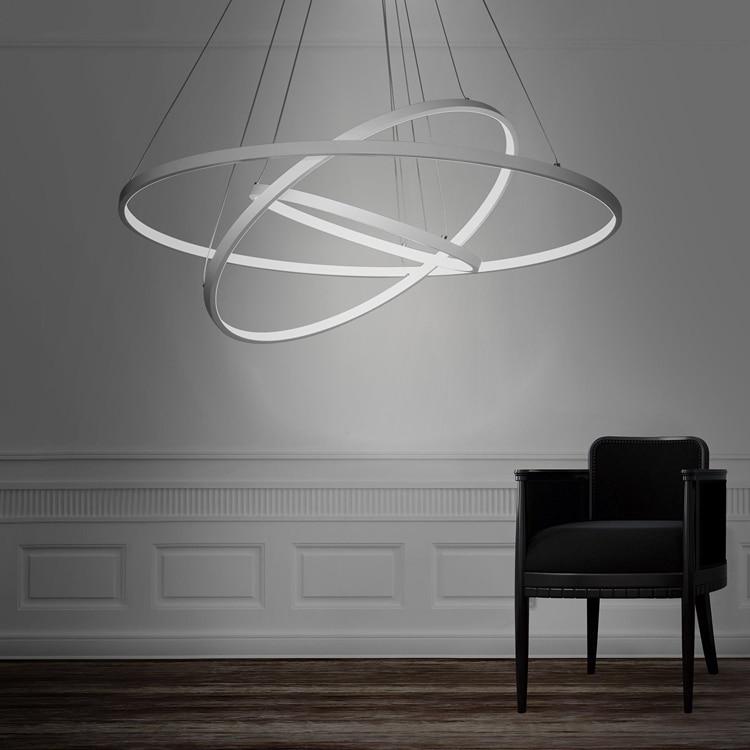 Modern 3 Tier Led Ring Chandelier Pendant Lamp Ceiling: Modern White Acryl Warm/ Cool White LED 3 Rings Pendant