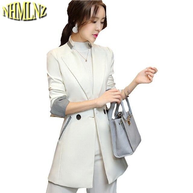 Новые осенние модные женские туфли костюм элегантный тонкий профессиональный костюм для досуга Для женщин больших размеров с длинным рукавом Сращивание средней длины костюм g1991