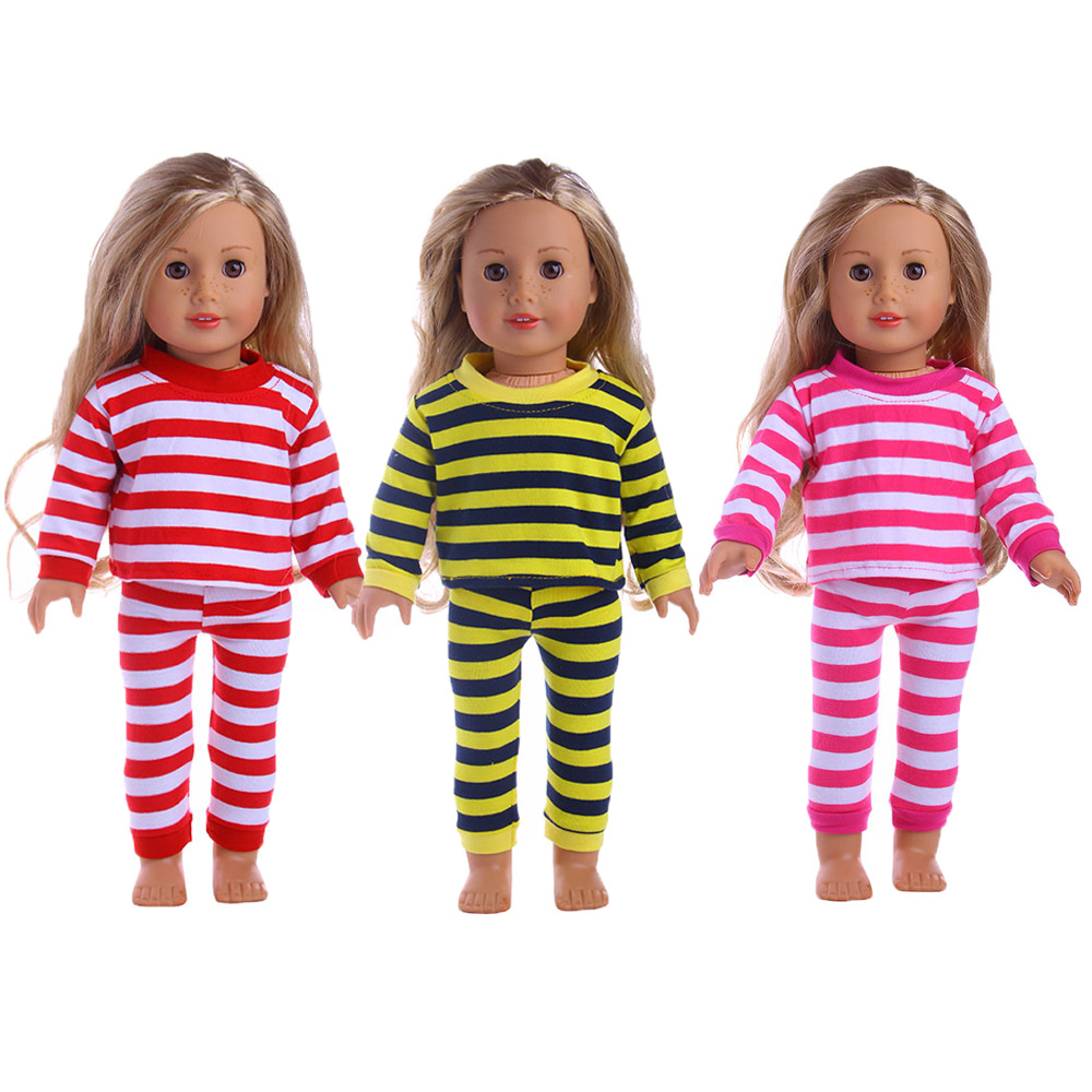 3 colors new american girl doll clothes doll accessories striped pajamas set for 18 inch. Black Bedroom Furniture Sets. Home Design Ideas