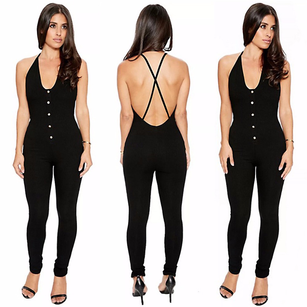20971d38ef Fashion Women Lady Sexy Jumpsuit High Slit Strappy Elastic Playsuit Show  Navel Plain Black New