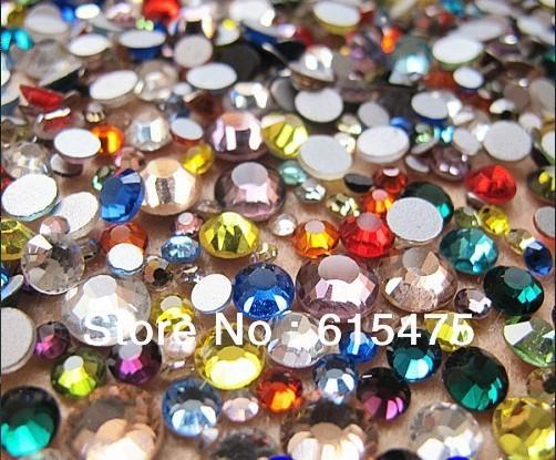 6mm Mix Color SS30 rhinestones de la Resina cristalina flatback, Envío Libre 10,000 unids/bolsa