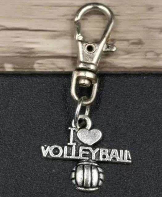 10 unids/lote plata antigua I love voleibol aleación llavero para mujer chica bolso llavero colgante joyería aceessore