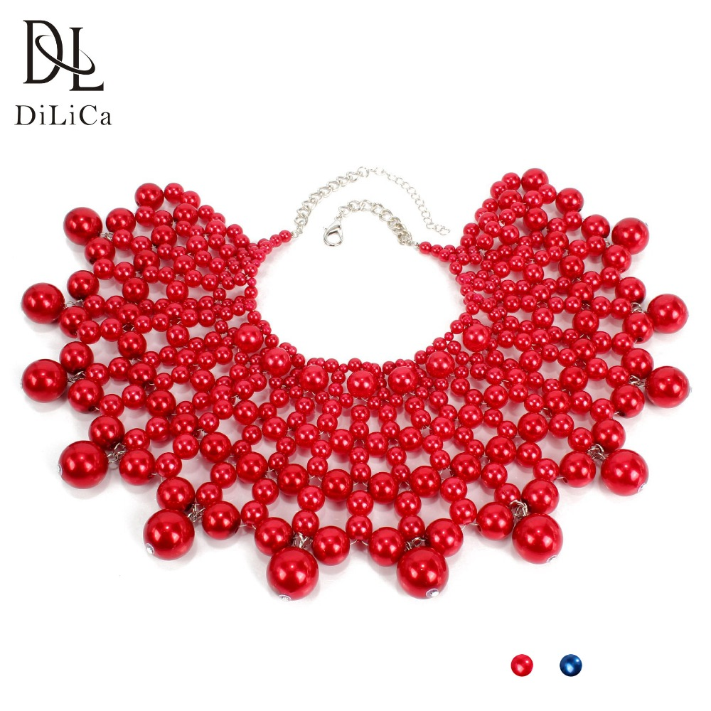 DiLiCa Hand knit Choker Necklace Collar Women Imitation Pearl Necklaces Chokers Layered Statement Necklace Jewelry Collier