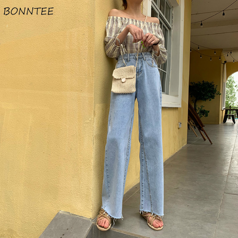 Jeans Women Summer Trendy Elegant All-match High-quality Korean Style Solid Leisure Daily Womens Female Lovely Simple 2019 Chic
