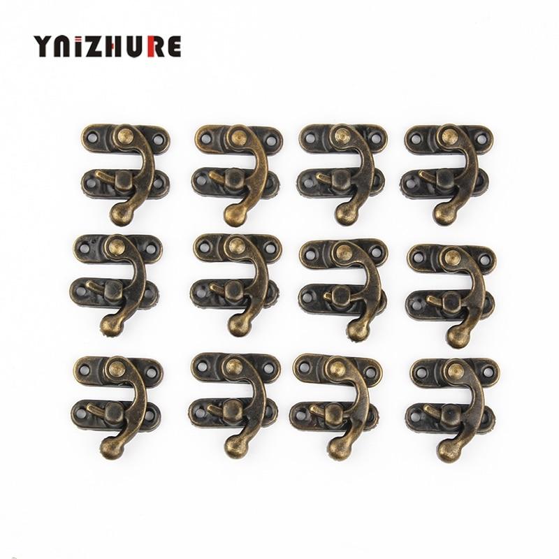 YNIZHURE 12Pcs Mini Antique 1.34in*1.10in Brass Wooden Case Jewelry Gift Box Decorative Hasp Latch