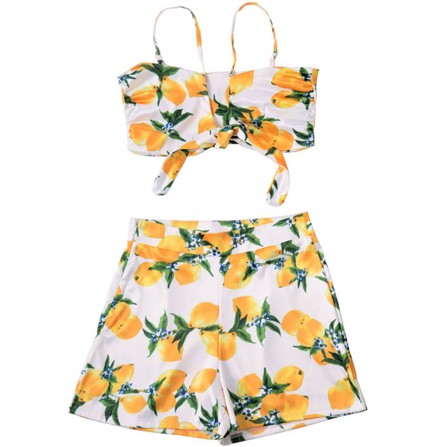 Fashion 2018 Beach Outfit Women Two Piece Set Summer Tropical Flower Print  Bowknot Crop Top And Shorts Set Conjunto Feminino 7ba4aebfc
