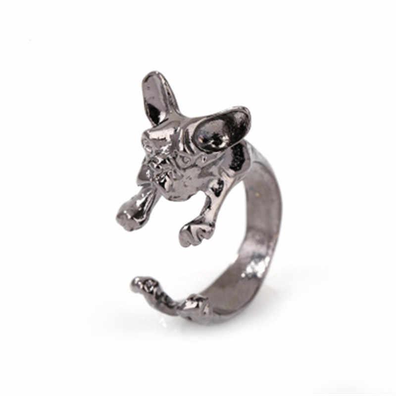 Rock แฟชั่น Charming สัตว์น่ารัก French bulldog น่ารัก Pugs แหวนห่อน่ารักสำหรับ Unisex Punk แหวนคริสต์มาสของขวัญ