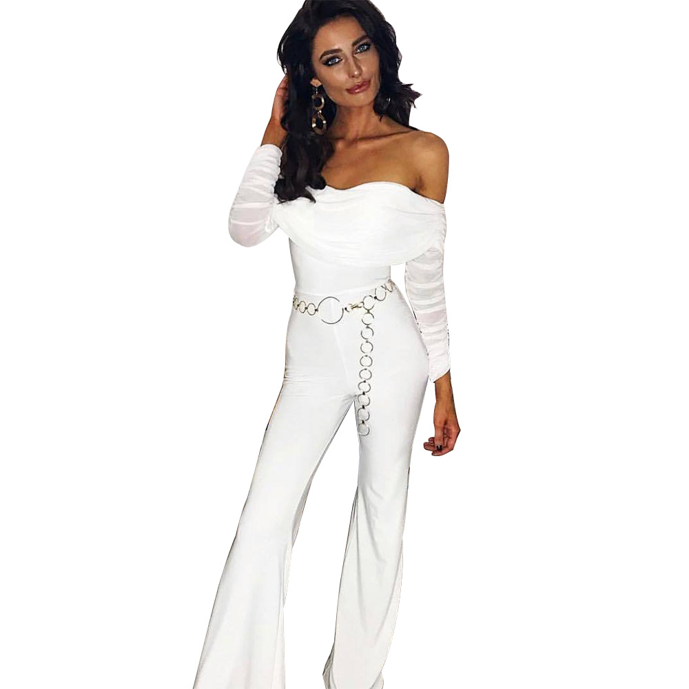 Elegant Mesh Pleated Female Jumpsuit Sexy Off Shoulder Long Boot Cut Pants Jumpsuit Women Patchwork Office Lady Party Overalls in Jumpsuits from Women 39 s Clothing