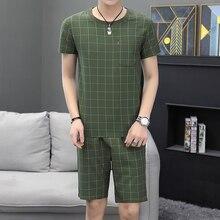 Loldeal Striped Plaid Mens T-Shirt + Shorts Casual Slim Cotton Set Summer