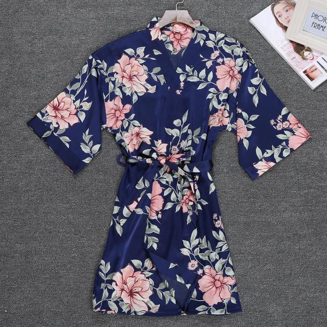 a7cb2b8f3 QWEEK Femme Robe Sleepwear Cetim de Seda Vestido Roupão Quimono Casa Flor  Sexy Salão Sono Elegante Desgaste Da Noite Das Mulheres Do Vintage