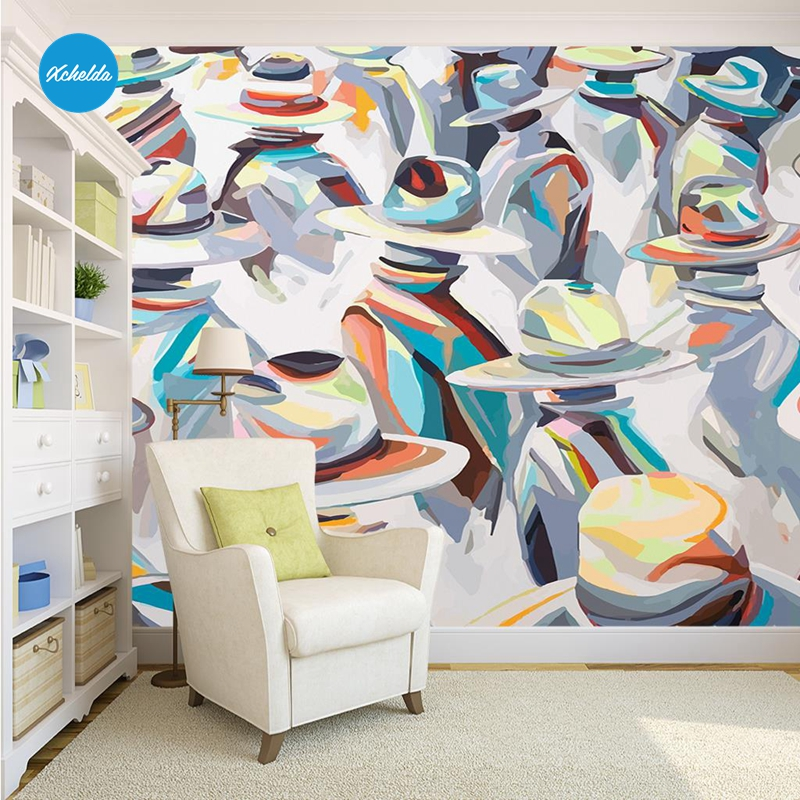 XCHELDA 3D Mural Wallpapers Custom Abstract Oil Painting Design Background Bedroom Living Room Wall Murals Papel De Parede custom 3d wall murals wallpaper luxury silk diamond home decoration wall art mural painting living room bedroom papel de parede