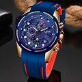 LIGE повседневные спортивные часы для мужчин синий топ бренд класса люкс военные водонепроницаемые мужские наручные часы модные хронограф н...
