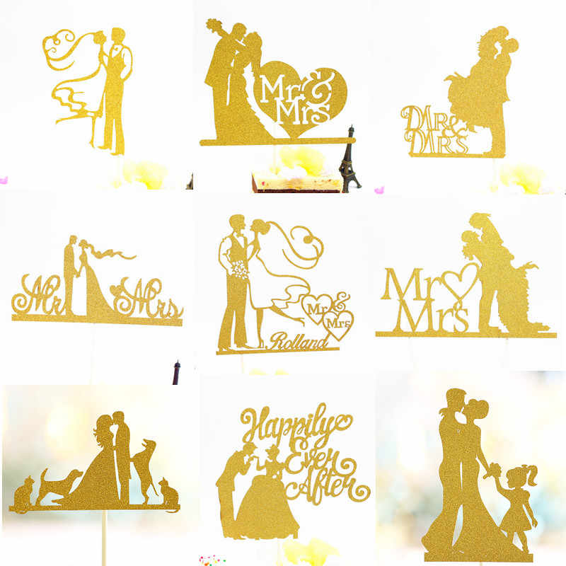 Glitter Bride Groom Cake Topper Mr Mrs Hollow Cake Cupcake Toppers Flags Wedding Mariage Party DIY Birthday Decoration Romantic