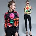 YMOJNV Весна Рубашка Женщины 2017 Новое Прибытие Мода Темперамент Нагрудные С Длинным Рукавом Личность Печать Тонкий Рубашка Плюс Размер Женщина