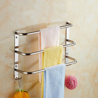 40/50/60cm silver polished three layer towel rack black creative towel bar 304 stainless steel bathroom hardware accessories