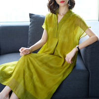 Rayon Silk Summer Dress Casual 2018 Women Dress Vintage V Collar Plus Size Large Loose Long Shirt Dresses Ladies Female Clothes