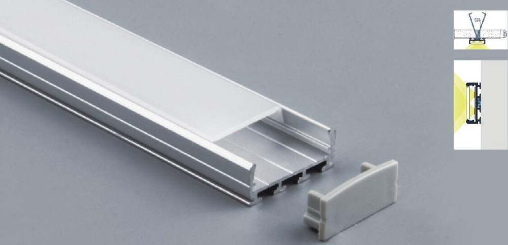 Free Shipping  Wide Mounting LED Aluminum Profile 24mm Width Best For Ceiling 2m/pcs   30m/lot