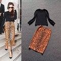 2016 New Fashion Twin Set Dress Black Top+Leopard Printing Skirt Elegant Slim Formal 2 Piece Set High Quality