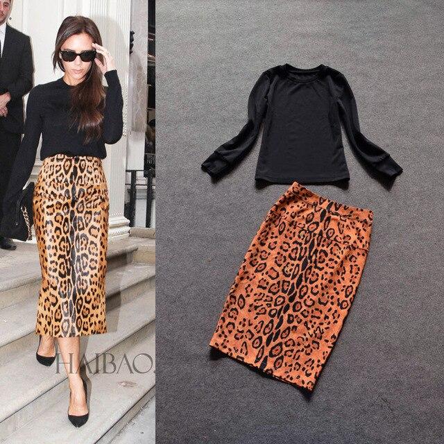 b6760517bb0a 2016 New Fashion Twin Set Dress Black Top+Leopard Printing Skirt Elegant  Slim Formal 2