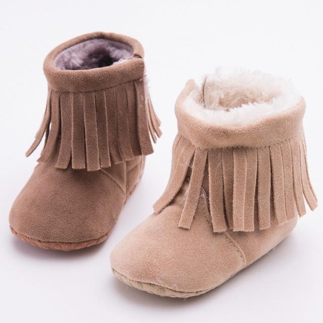 Nuevo Invierno de Algodón de Felpa Más Cálidas Botas de Bebé de Cuero Suave Suela PU Niñas Franja Newborn Infant Toddler Shoes