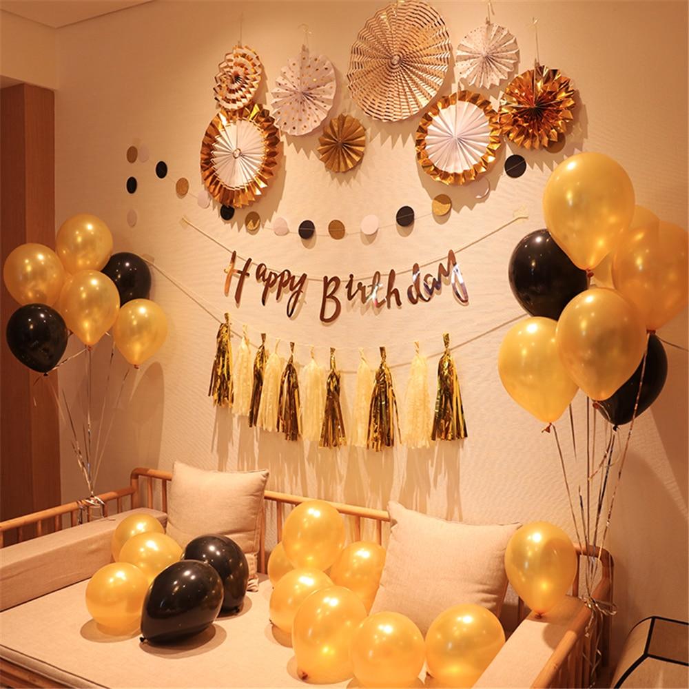 Creative Black Gold Balloon Happy Birthday Flag Adult Photo Background Boyfriend Party Decorations Baby Shower Supplies In DIY