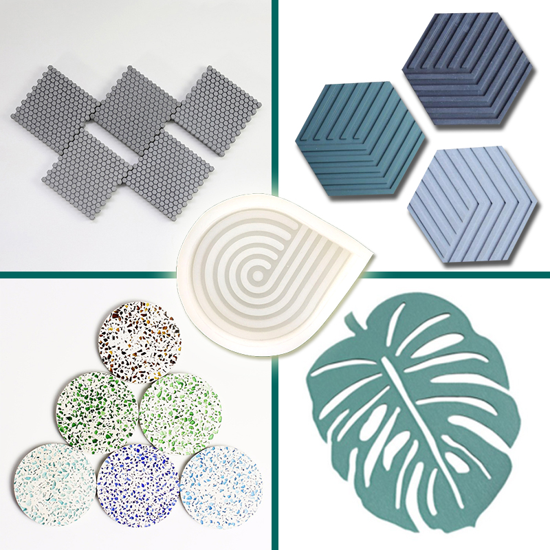 Hexagonal Geometry Cup Cushion Tray Mold Cement Cup Cushion Concrete Decorative Silicone Mold