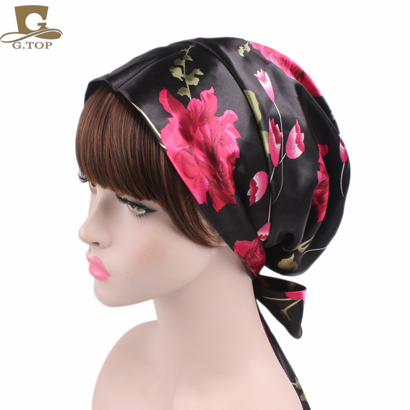 New Women Satin Head Scarf Sleeping Bonnet Silky Head Covering Head Wrap Ladies Hair Scarf Cap