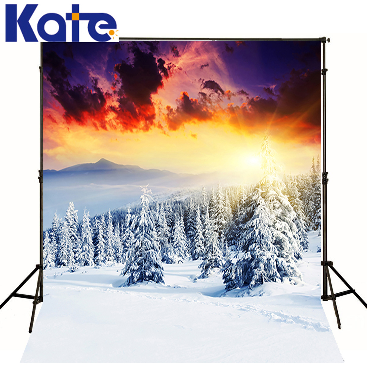 KATE Winter Background Photography Sunshine Natural Sunset Background Scenery Snow Forest Backgrounds For Photo Shoot Studio kate photo backdrops winter snow tree forest scenery backgrounds white cold world background christmas backdrop for photo shoot