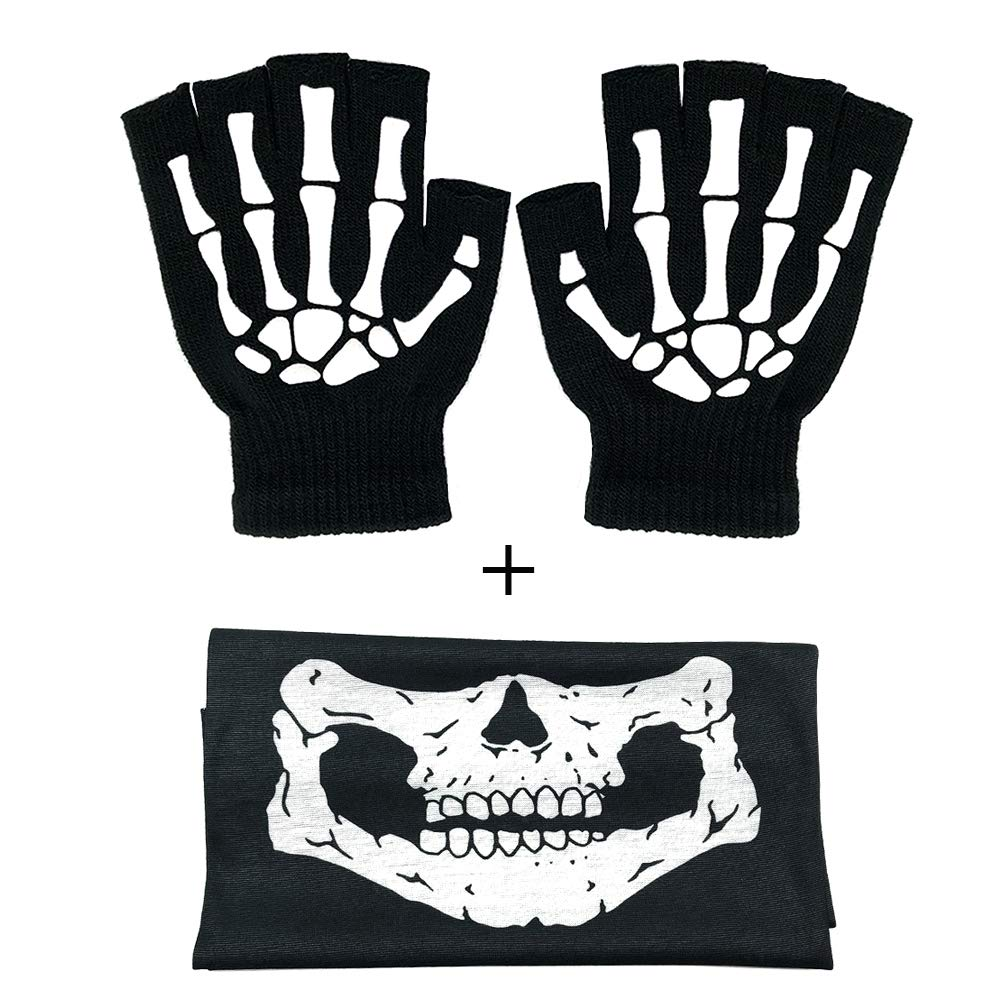 Fingerless Skeleton Gloves And Skull Face Mask Fashion Unisex Skeleton Pattern Knit Gloves Glow In Dark Mouth Mask Cosplay Black