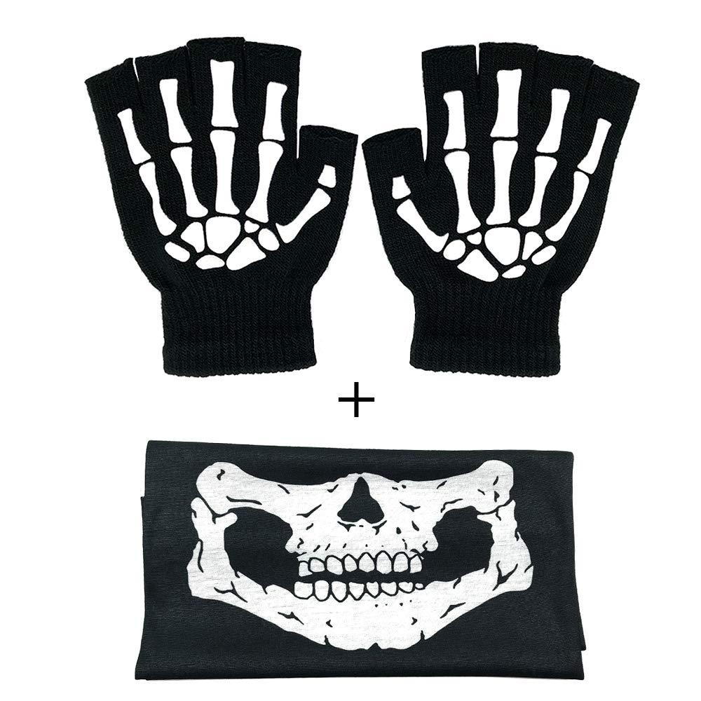 Fingerless Skeleton Gloves And Skull Face Mask Fashion Unisex Skeleton Pattern Knit Gloves Glow In Dark Mouth Mask Cosplay Black