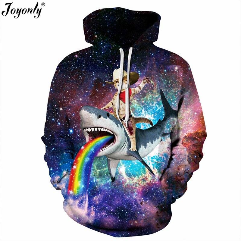 Joyonly Colorful Paint Space Galaxy Hoodies Women Men 3d Sweatshirts Shark Cat Rainbow Harajuku Hooded Hoodie Casual Hoody Tops