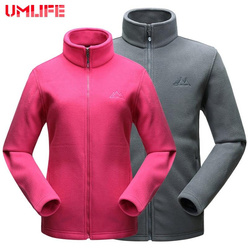 ФОТО UMLIFE 2016 Men Women Outdoor Sports Fleece Jacket Woolen Warm Coat Autumn Winter Fitness Ruu Hiking Cardigan Skiing Clothes