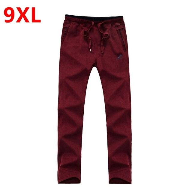 Большой размер мужской хлопок большой размер брюки плюс размер штаны мужская случайные брюки жира XLoversize брюки прилив эластичный пояс полный ленг