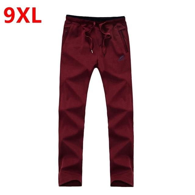 Calças dos homens tamanho grande de algodão tamanho grande plus size moletom dos homens calça casual calças gordura XLoversize maré calças cintura elástica cheia leng
