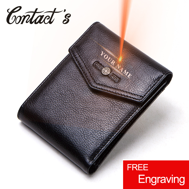 Contact's 100% <font><b>Genuine</b></font> <font><b>Leather</b></font> <font><b>Wallets</b></font> <font><b>Short</b></font> Trifold <font><b>Men</b></font> <font><b>Wallet</b></font> Quality Coin Purse Card Holder Small Money Bag Gift for <font><b>Man</b></font> image