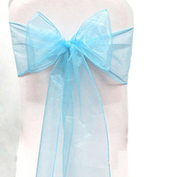 50pcs Organza Chair Cover Sashes Wedding Party Banquet Bow Decoration