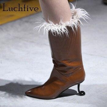 7babf2d2 2018 botas de piel de invierno para mujer, pipa de tabaco, tacón alto, botas  de piel auténtica de media pantorrilla, botines de punta estrecha para mujer