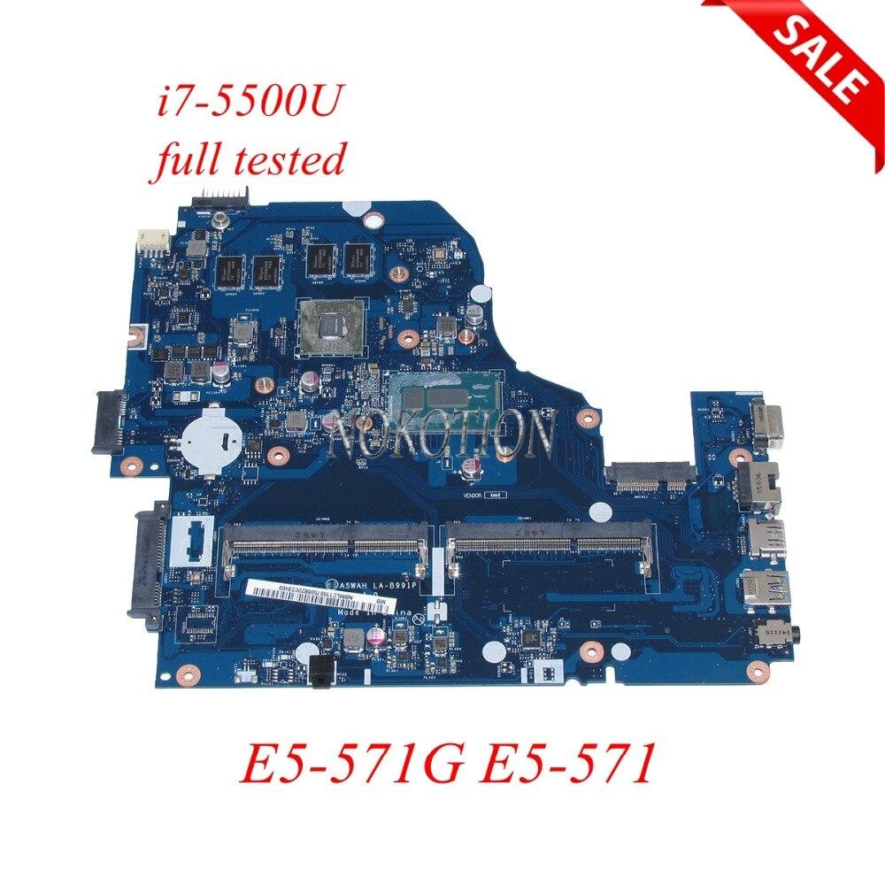 NOKOTION NBMLC11008 LA-B991P Laptop Motherboard for Acer Aspire E5-571G E5-571 I7-5500U DDR3L Main board full tested wzsm original usb board with cable for acer aspire e5 521 e5 571 usb board ls b162p tested well